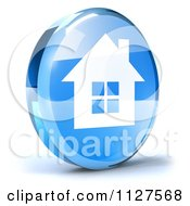 Clipart Of A 3d Blue Glass Home Page Icon Royalty Free CGI Illustration