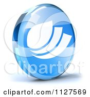 Clipart Of A 3d Blue Glass Leaf Icon Royalty Free CGI Illustration