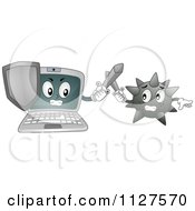 Cartoon Of A Laptop Mascot Battling A Virus Royalty Free Vector Clipart
