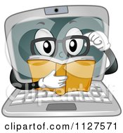Cartoon Of A Laptop Mascot Reading A Book Royalty Free Vector Clipart