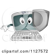 Cartoon Of A Laptop Mascot Defending With A Shield Royalty Free Vector Clipart