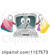 Cartoon Of A Laptop Mascot Holding Shopping Bags Royalty Free Vector Clipart