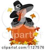 Cartoon Of A Cute Thanksgiving Turkey Wearing A Pilgrim Hat And Looking Over A Pumpkin Royalty Free Vector Clipart by BNP Design Studio