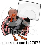 Cartoon Of A Cute Thanksgiving Turkey Bird Holding A Sign Royalty Free Vector Clipart by BNP Design Studio