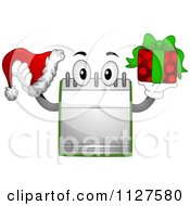 Cartoon Of A Calendar Mascot Holding A Christmas Santa Hat And Gift Royalty Free Vector Clipart by BNP Design Studio
