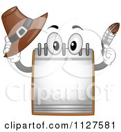 Cartoon Of A Calendar Mascot Holding A Thanksgiving Pilgrim Hat And Feather Royalty Free Vector Clipart by BNP Design Studio