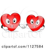Cartoon Of Happy Heart Mascots Holding Hands Royalty Free Vector Clipart