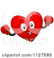 Cartoon Of A Happy Heart Mascot Wearing Boxing Gloves Royalty Free Vector Clipart by BNP Design Studio