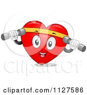Cartoon Of A Happy Heart Mascot Working Out With Dumbbells Royalty Free Vector Clipart