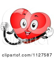 Cartoon Of A Happy Heart Mascot Holding A Stethoscope Royalty Free Vector Clipart by BNP Design Studio