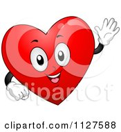 Cartoon Of A Happy Heart Mascot Waving Royalty Free Vector Clipart