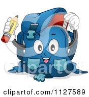 Cartoon Of A Happy School Bag Mascot Holding A Pencil Royalty Free Vector Clipart
