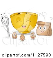 Cartoon Of Mixing Bowl Eggs Bag And Whisk Mascots Royalty Free Vector Clipart by BNP Design Studio