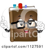 Cartoon Of A Book Mascot With Glasses And Marks Royalty Free Vector Clipart by BNP Design Studio
