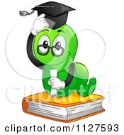 Cartoon Of A Worm Graduate On A Book Royalty Free Vector Clipart