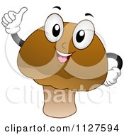 Cartoon Of A Happy Mushroom Mascot Holding A Thumb Up Royalty Free Vector Clipart