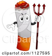 Cartoon Of A Mad Cigarette Mascot Holding A Trident Royalty Free Vector Clipart
