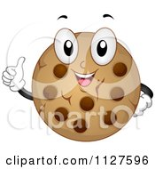 Chocolate Chip Cookie Mascot Holding A Thumb Up