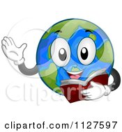 Cartoon Of A Reading Globe Mascot Royalty Free Vector Clipart
