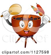 Cartoon Of A Grill Mascot Holding A Fan And Skewers Royalty Free Vector Clipart