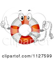 Cartoon Of A Life Buoy Mascot Holding A Thumb Up Royalty Free Vector Clipart