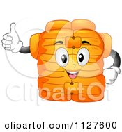 Cartoon Of A Life Jacket Mascot Holding A Thumb Up Royalty Free Vector Clipart