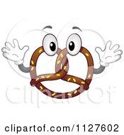 Chocolate Soft Pretzel Mascot Holding Up His Hands