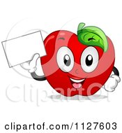 Cartoon Of A Happy Red Apple Mascot Holding A Sign Royalty Free Vector Clipart