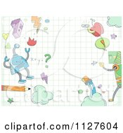 Cartoon Of Doodled Robots And School Items On Graph Paper Royalty Free Vector Clipart
