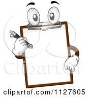 Cartoon Of A Clipboard Mascot Holding A Pen Royalty Free Vector Clipart by BNP Design Studio