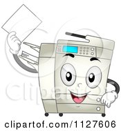 Cartoon Of A Happy Copier Mascot Holding A Piece Of Paper Royalty Free Vector Clipart by BNP Design Studio