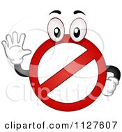 Cartoon Of A Restricted Mascot Holding A Hand Up Royalty Free Vector Clipart