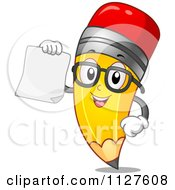 Cartoon Of A Pencil Mascot Holding A Paper Royalty Free Vector Clipart