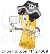 Cartoon Of A Pirate Treasure Map Mascot Holding A White Flag Royalty Free Vector Clipart