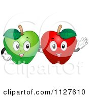 Cartoon Of Happy Green And Red Apple Mascots Royalty Free Vector Clipart