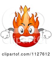 Cartoon Of An Angry Flame Mascot Royalty Free Vector Clipart