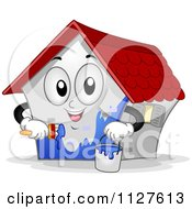 Cartoon Of A House Mascot Painting Itself Blue Royalty Free Vector Clipart