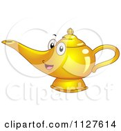Cartoon Of A Happy Genie Or Oil Lamp Mascot Royalty Free Vector Clipart by BNP Design Studio