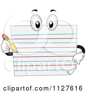 Cartoon Of A Composition Paper Mascot Holding A Pencil Royalty Free Vector Clipart
