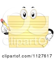 Cartoon Of A Yellow Pad Mascot Holding A Pencil Royalty Free Vector Clipart