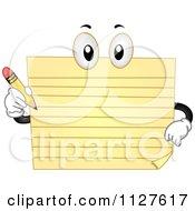 Yellow Pad Mascot Holding A Pencil