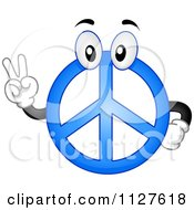 Cartoon Of A Blue Peace Sign Mascot Gesturing Royalty Free Vector Clipart