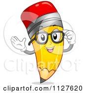 Pencil Mascot Adjusting Glasses