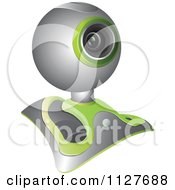 Clipart Of A Chrome And Green Computer Web Camera Royalty Free Vector Illustration