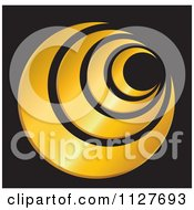 Clipart Of A Gold Circular Icon On Black Royalty Free Vector Illustration by YUHAIZAN YUNUS