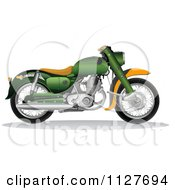 Clipart Of A Green And Orange 1956 Honda C70 Dream Motorcycle Royalty Free Vector Illustration