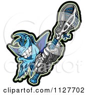 Cartoon Of A Blue Lacrosse Demon Mascot Holding A Stick Royalty Free Vector Clipart