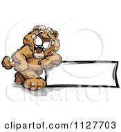 Cartoon Of A Happy Cougar Mascot Leaning On A Sign Royalty Free Vector Clipart by Chromaco
