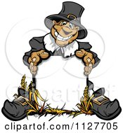 Cartoon Of A Happy Thanksgiving Pilgrim Man Behind A Sign Royalty Free Vector Clipart