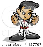 Cartoon Of A Tough Elvis Impersonator Holding Up Fists Royalty Free Vector Clipart
